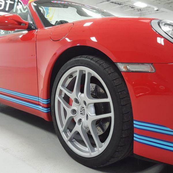 Custom Vehicle Wrap_Porsche Hood Wrap_Lower Stripe