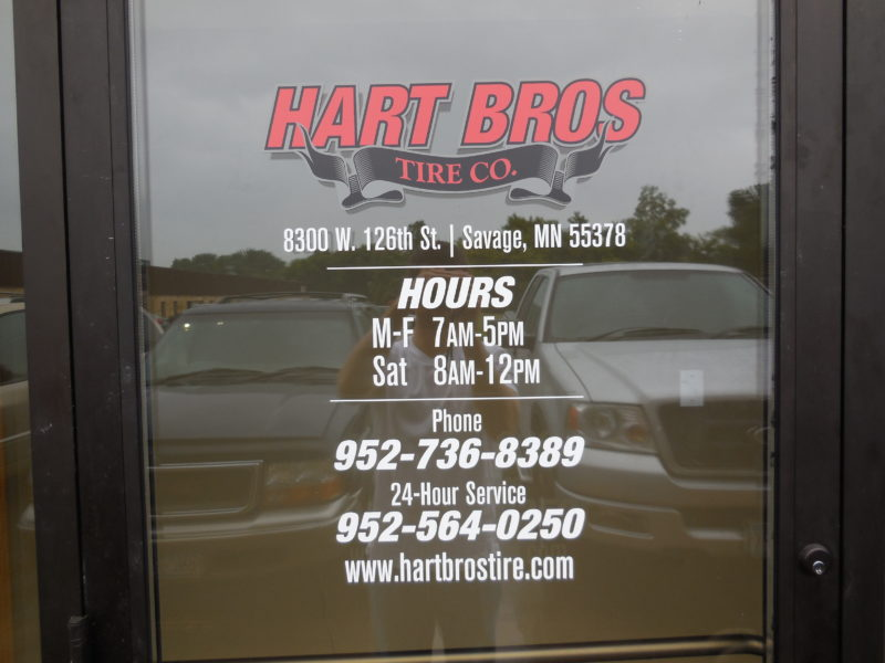 Window Graphics - Store Hours - Hart Bros