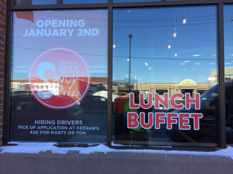 Window Graphics - Red's Savoy Pizza
